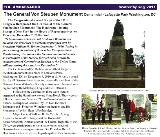 Steuben monument article in the Ambassador