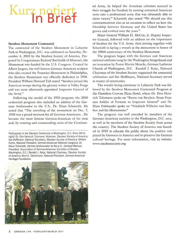 Steuben Monument Centennial article in German Life